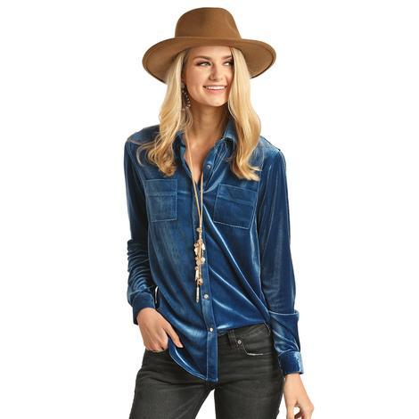 Rock & Roll Cowgirl Indigo Velvet Long Sleeve Button Women's Shirt