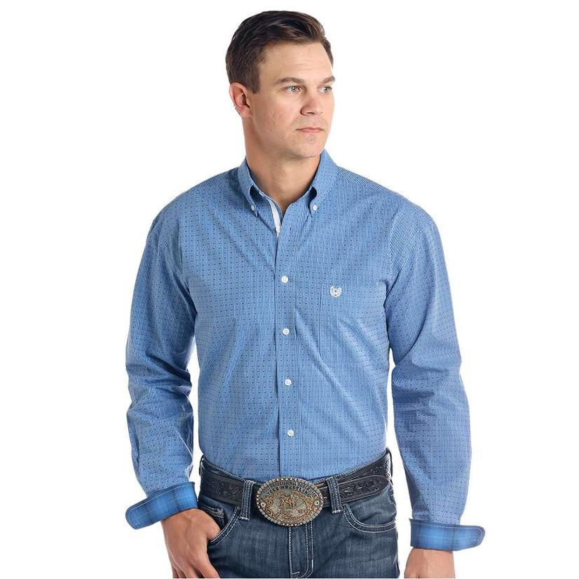 Panhandle Vertical Blue White Button Down Men's Shirt