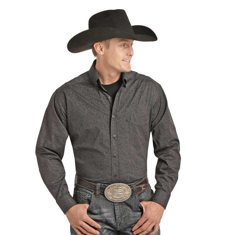Panhandle Tuf Cooper Charcoal Paisley Long Sleeve Mens ' Shirt