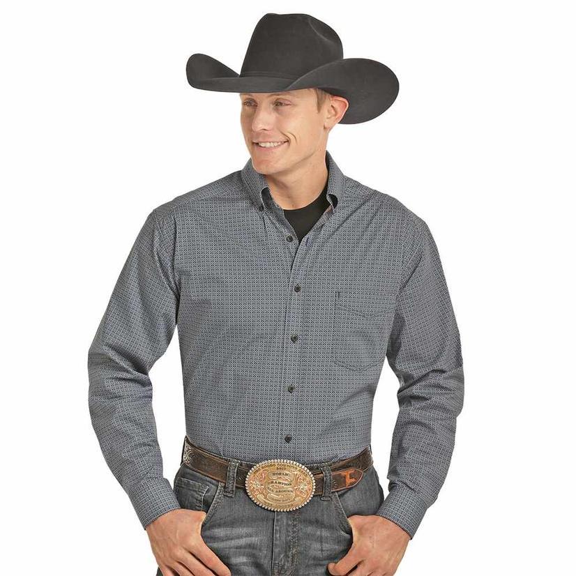 Panhandle Tuf Cooper Indigo Long Sleeve Button Down Men's Shirt