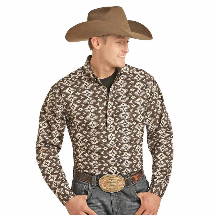 Panhandle Tuf Cooper Brown Aztec Print Long Sleeve Men's Shirt