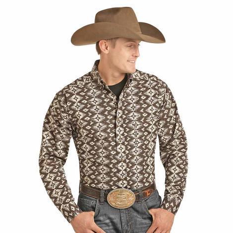 Panhandle Tuf Cooper Brown Aztec Print Long Sleeve Men's Shirt