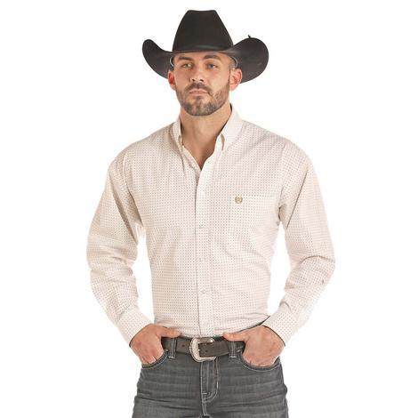 Pandhandle Black and Tan Cross Print Long Sleeve Button Down Men's Shirt