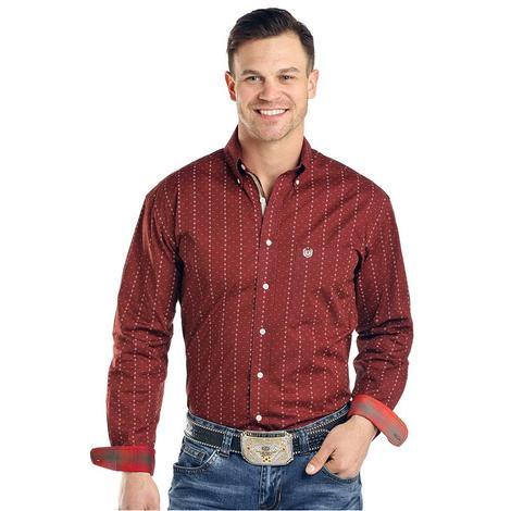 Panhandle Dark Red Print Long Sleeve Button Down Men's Shirt