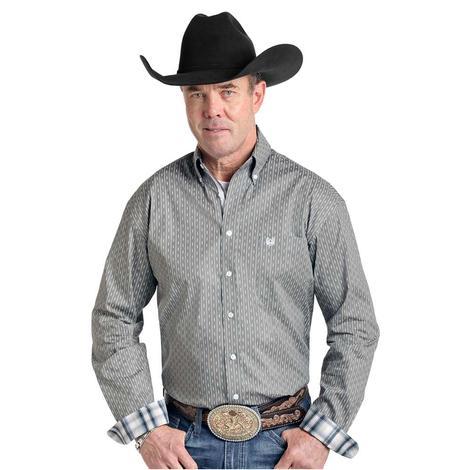 Panhandle Grey Print Long Sleeve Button Down Men's Shirt