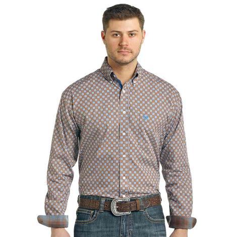 Pandhandle Brown Blue Print Long Sleeve Men's Shirt