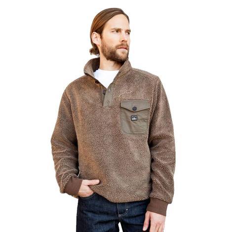 Kimes Ranch Brown Piled Fleece Quarter Button Men's Pullover
