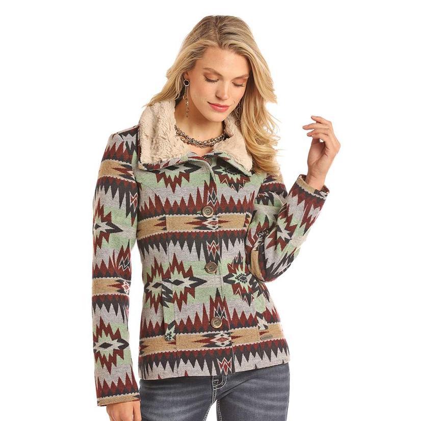 Powder River Multi Colored Aztec Button Wool Women's Coat