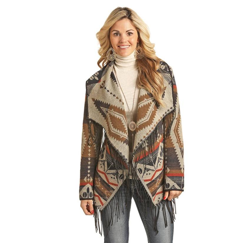 Powder River Aztec Fringed Open Cardigan Women's Jacket