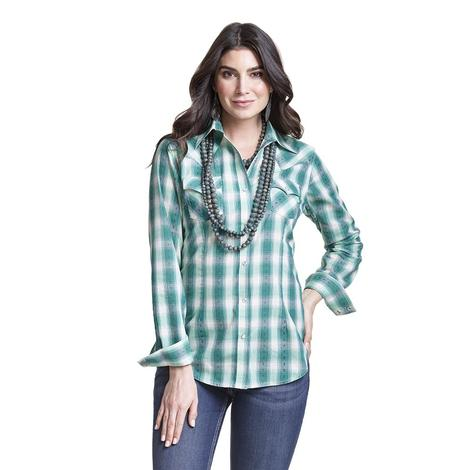 Wrangler Turquoise White Plaid Women's Shirt