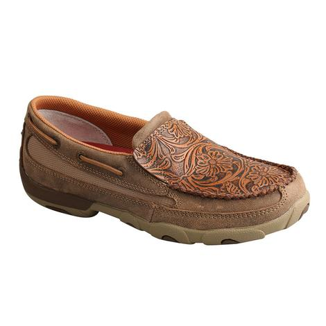 Twisted X Brown Tooled Slip On Women's Driving Moc