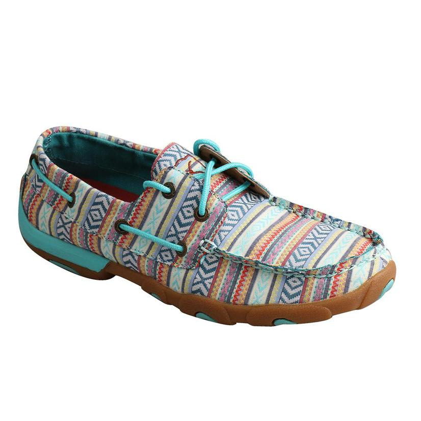 Twisted X Turquoise Print Women's Driving Mocs