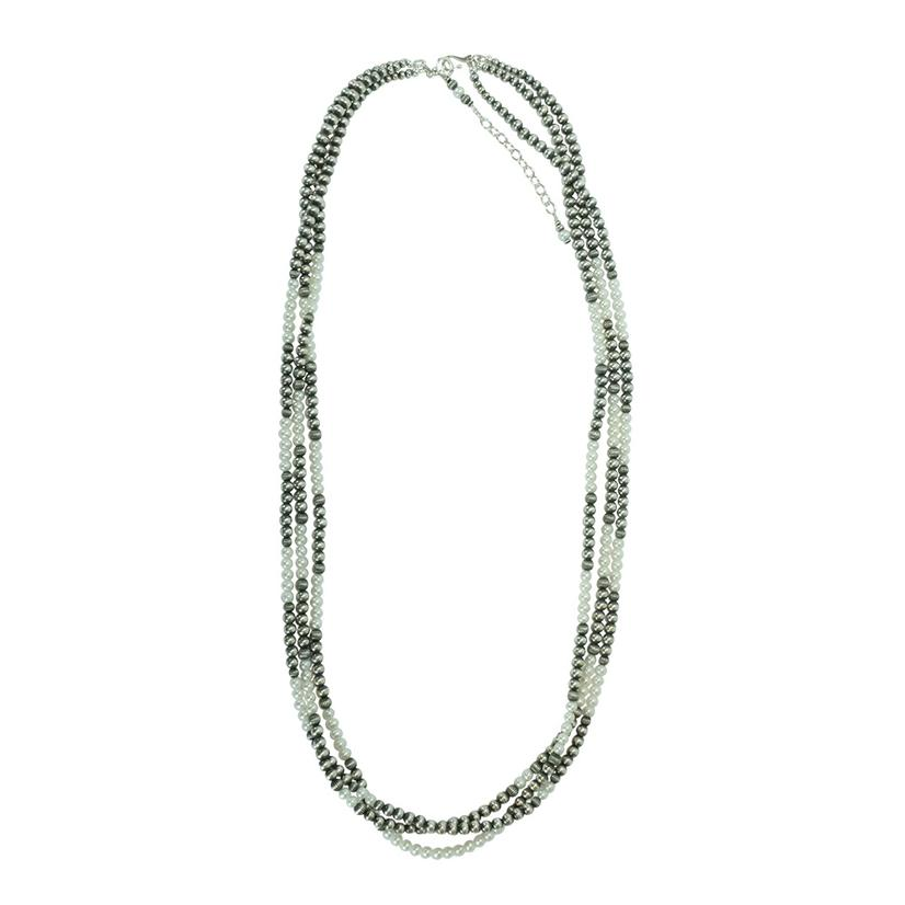 Navajo Pearl And Freshwater Pearl 3 Strand Necklace 36inch