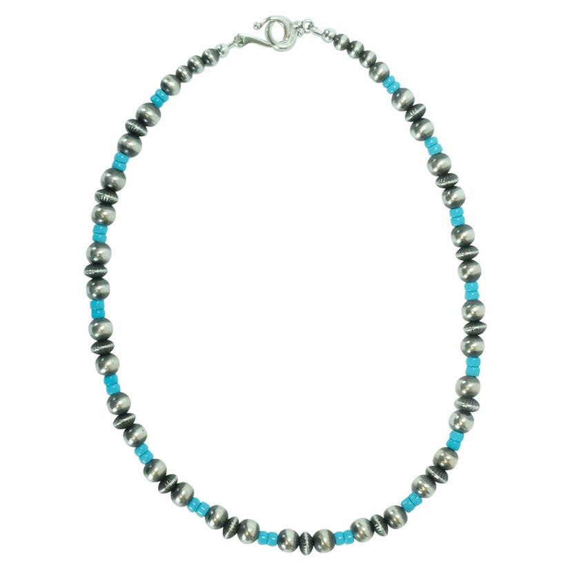 Navajo Pearl And Turquoise 16inch Necklace