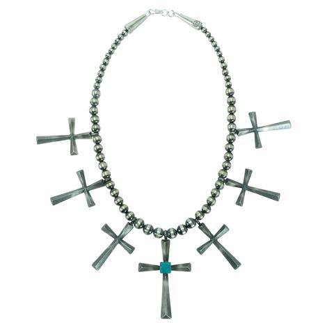 Cross Pendant with Turquoise Stone Necklace