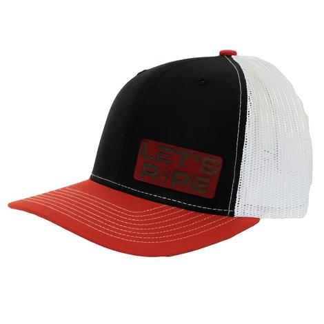 Let's Rope Black White Red Patch Meshback Cap