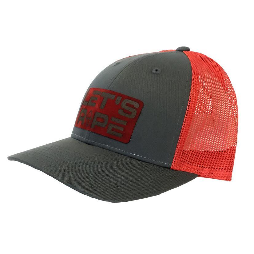 Let's Rope Grey Red Meshback Logo Cap
