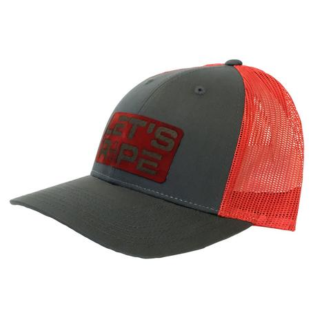 Let's Rope Grey Red Meshback Logo Cap