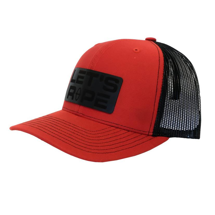 Let's Rope Red Black Leather Patch Meshback Cap
