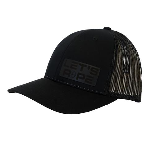 Let's Rope Leather Patch Black Meshback Cap