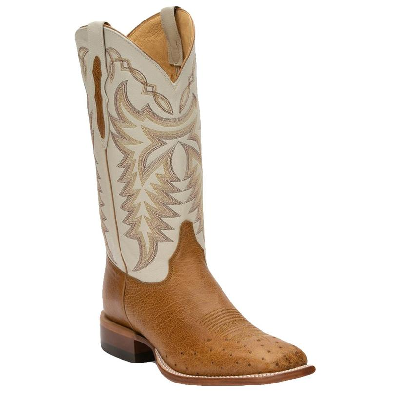 Justin Antique Saddle Smooth Ostrich Ivory Top Men's Boots
