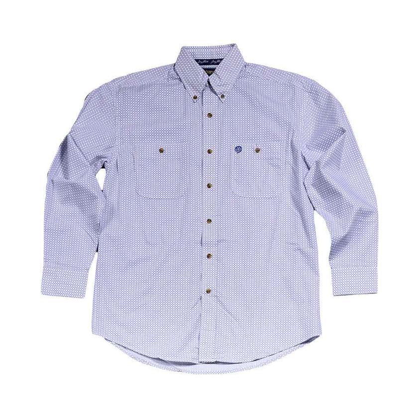 Wrangler Royal Blue And White Print Long Sleeve Button Down Men's Shirt