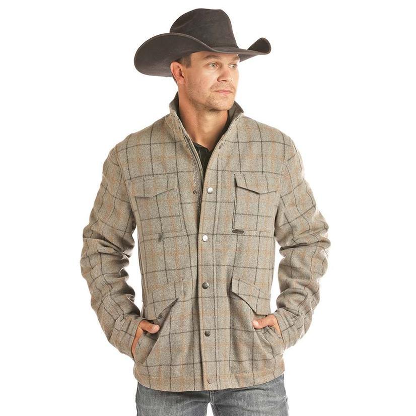 Powder River Grey With Tan Plaid Button Up Men's Jacket - 3xl