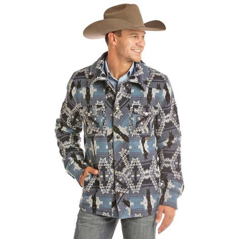 Powder River Blue Aztec Print Snap Wool Men's Coat
