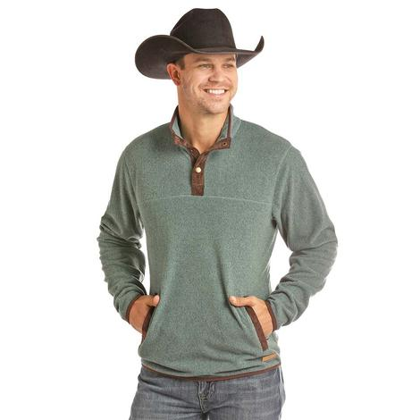 Powder River Quarter Snap Tiel and Brown Men's Pullover