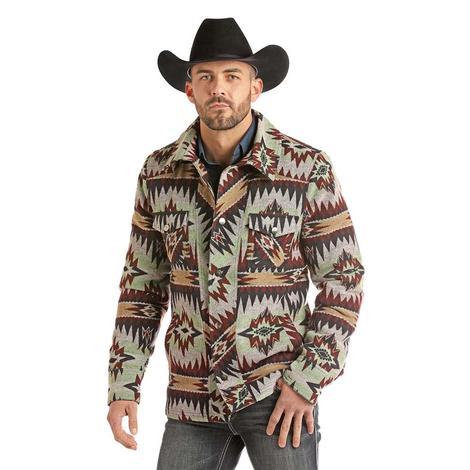 Powder River Multi Colored Aztec Button Up Men's Jacket