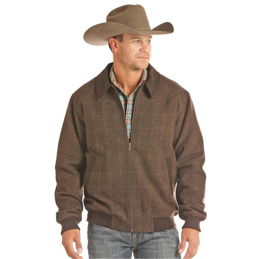 Powder River Brown Barley Long Sleeve Zip Up Men Jacket