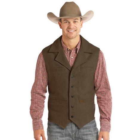 Powder River Brown Heather Wool Men's Vest