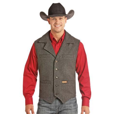 Powder River Charcoal Pin Stripe Wool Western Men's Vest