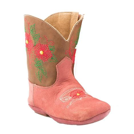 Roper Cowbaby Pink Flower Leather Infant Boots