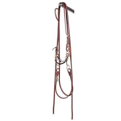 STT JR Cowhorse Smooth Snaffle Gag Bit with Split Reins Bridle Set