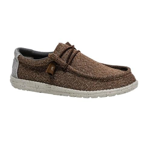 Hey Dude Wally Sox Brown Grey Men's Shoes
