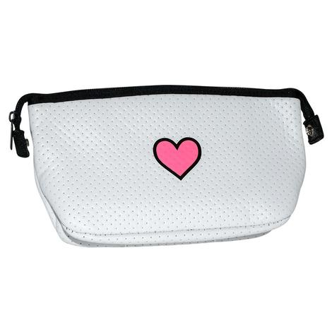 Haute Shore Erin Cosmetic White Pink Heart Bag