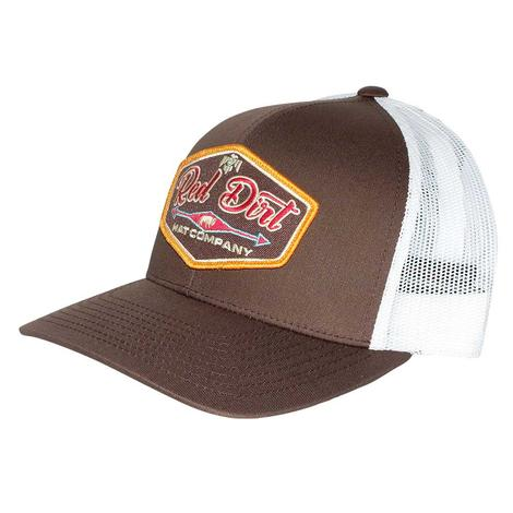 Red Dirt Hat Brown White T-Bird Meshback Cap
