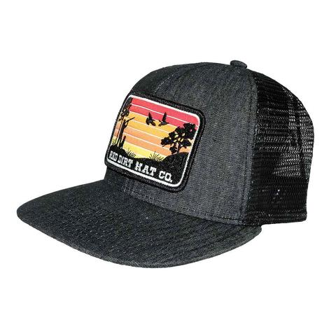 Red Dirt Hat Flight Cancelled Denim Black Meshback Cap