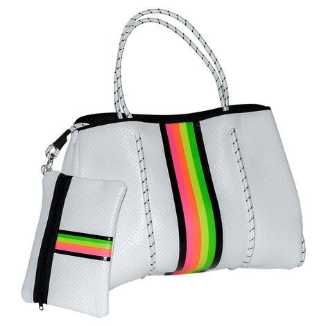 Haute Shore Greyston Tote Glow Rainbow Stripe White Bag