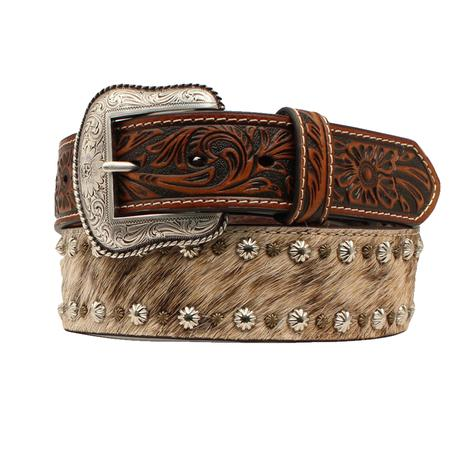 Nocona Grey Tan Cowhide with Small Concho Trim Men's Belt