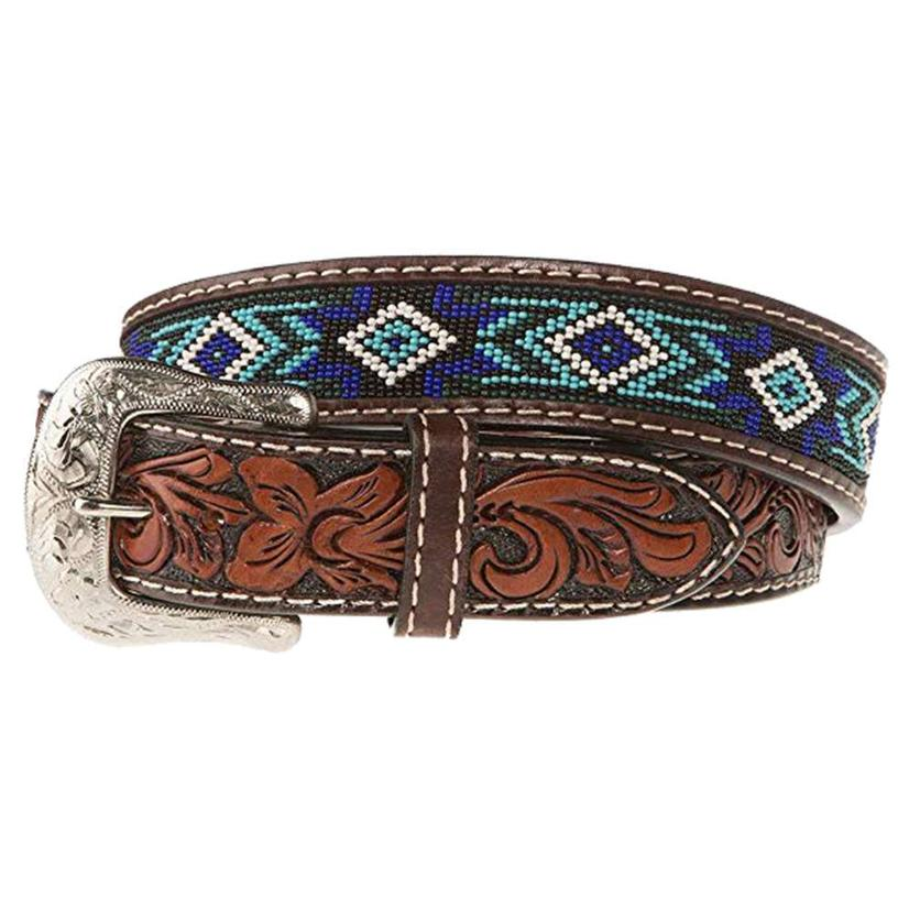 Blue And Turquoise Beaded Brown Leather Floral Tooled Men's Belt