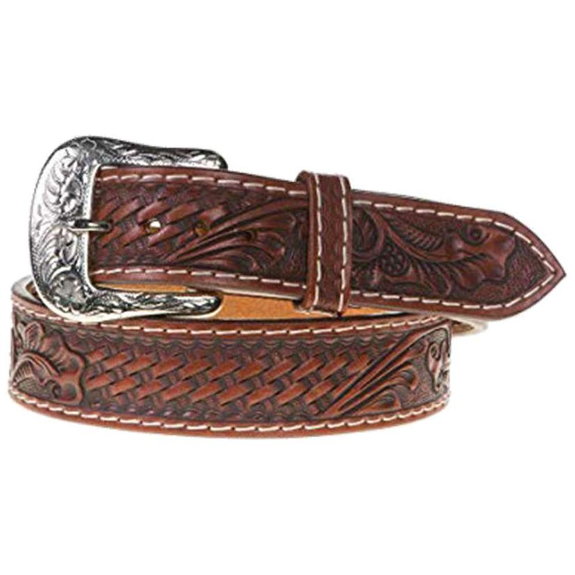 Brown Tooled Silver Buckle Men's Belt