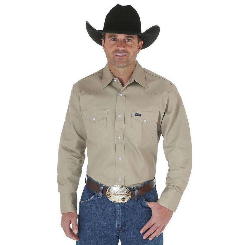 Wrangler Khaki Long Sleeve Snap Men's Shirt