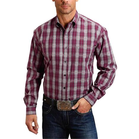 Stetson Wine Grey Plaid Long Sleeve Button Down Men's Shirt