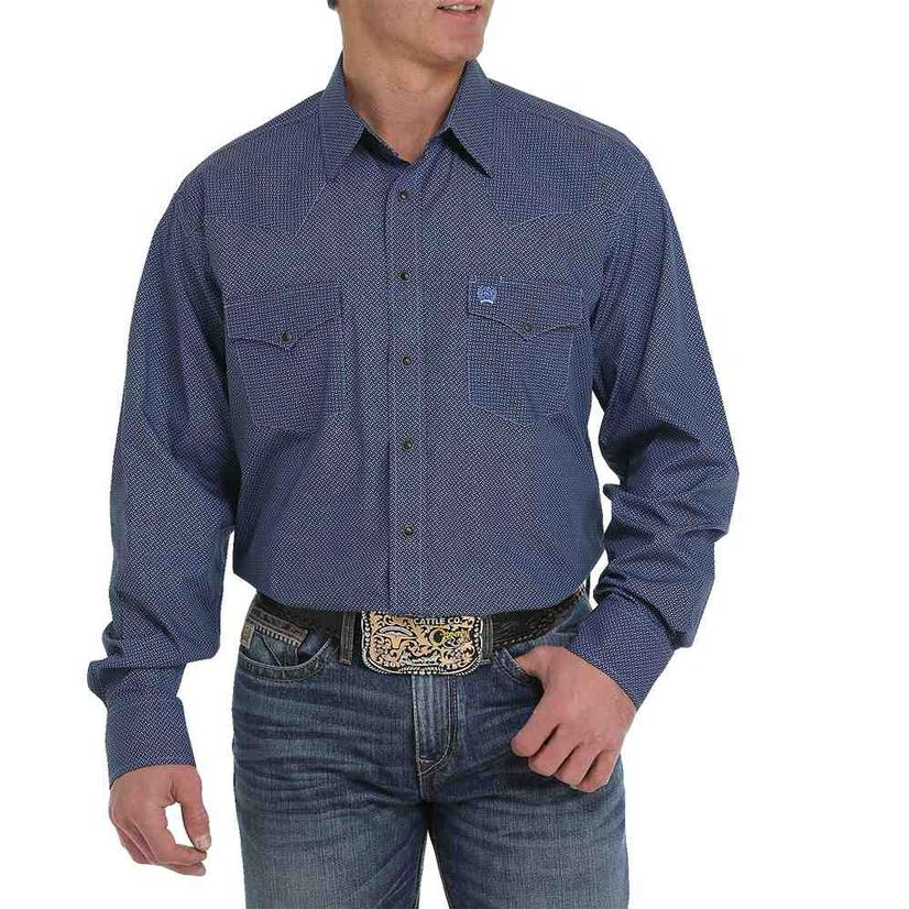 Cinch Black And Blue Print Long Sleeve Snap Men's Shirt
