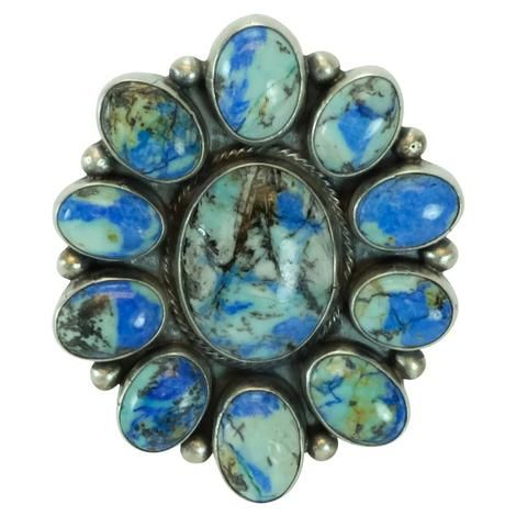 Blue and Green Azurite Oval Stone Cluster Ring