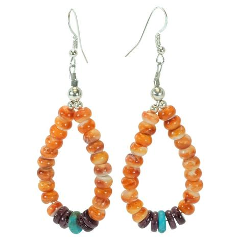 Orange Purple Turquoise Spiny Oyster Drop Earrings