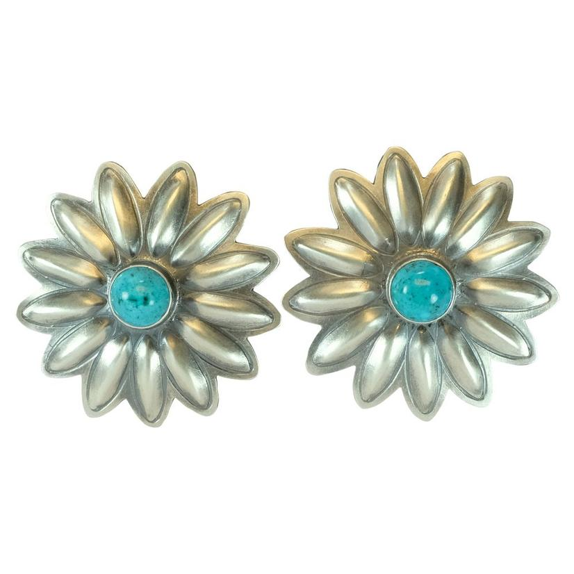 Sterling Silver And Turquoise Aster Flower Earrings