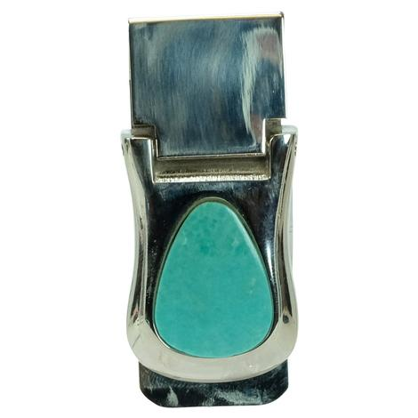 Sterling Silver and Teardrop Turquoise Money Clip